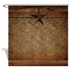 burlap barn wood texas star Shower Curtain