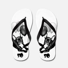 50th Birthday French Bulldog Flip Flops
