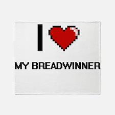 I Love My Breadwinner Throw Blanket