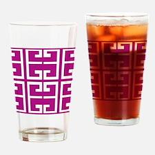 Roman Magenta Tiles Drinking Glass