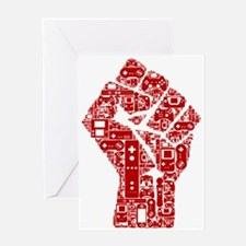Gamer fist revolution Greeting Cards