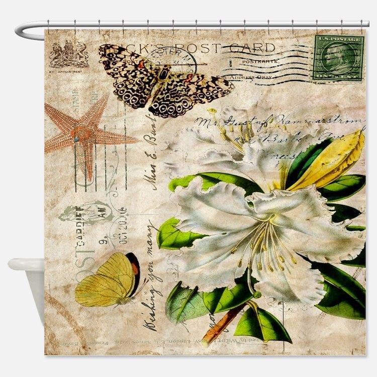 Botanical Print Shower Curtains Botanical Print Fabric