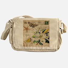 french botanical white lily Messenger Bag
