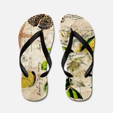 french botanical white lily Flip Flops