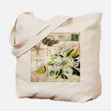 french botanical white lily Tote Bag