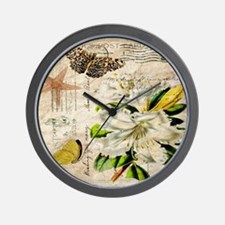 french botanical white lily Wall Clock