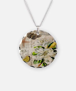 french botanical white lily Necklace