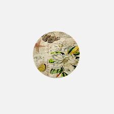 french botanical white lily Mini Button