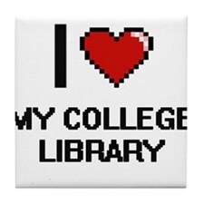 I love My College Library Tile Coaster