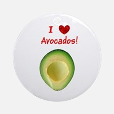 I Love Heart Avocados Guillermo's Round Ornament