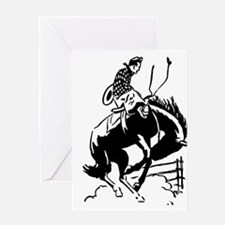 cowboy bucking horse Greeting Cards