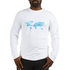Wanderlust, blue world map Long Sleeve T-Shirt