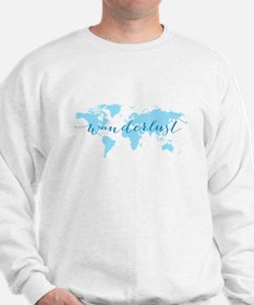 Wanderlust, blue world map Sweatshirt