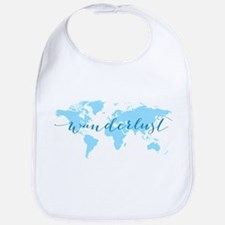 Wanderlust, blue world map Bib