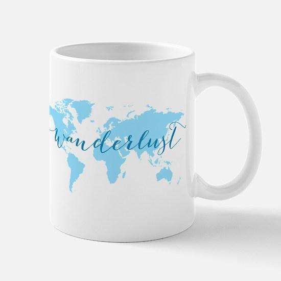 Wanderlust, blue world map Mugs