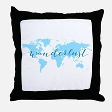 Wanderlust, blue world map Throw Pillow