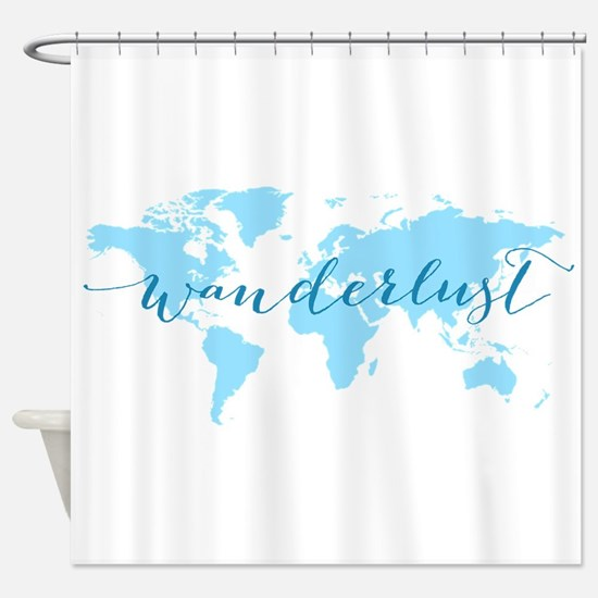 Wanderlust, blue world map Shower Curtain