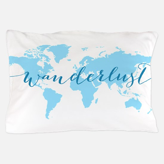 Wanderlust, blue world map Pillow Case