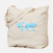 Wanderlust, blue world map Tote Bag