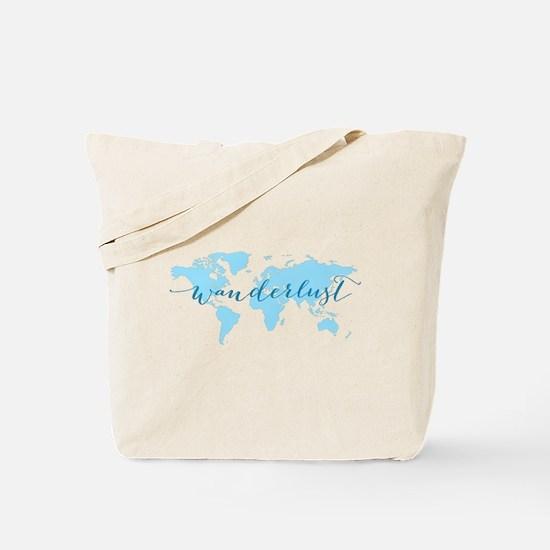 Wanderlust, blue world map Tote Bag