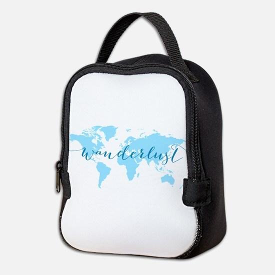 Wanderlust, blue world map Neoprene Lunch Bag