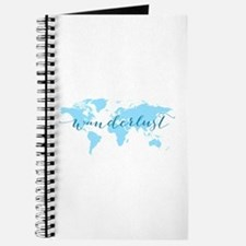 Wanderlust, blue world map Journal