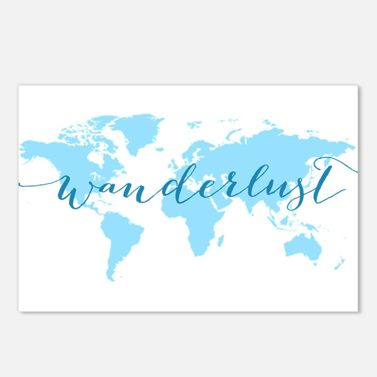 Wanderlust, blue world ma Postcards (Package of 8)