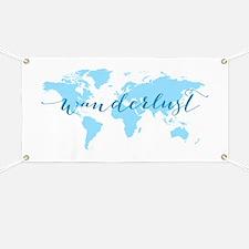 Wanderlust, blue world map Banner