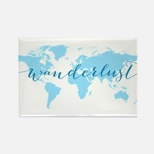 Wanderlust, blue world map Magnets