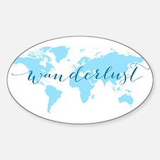 Wanderlust, blue world map Stickers