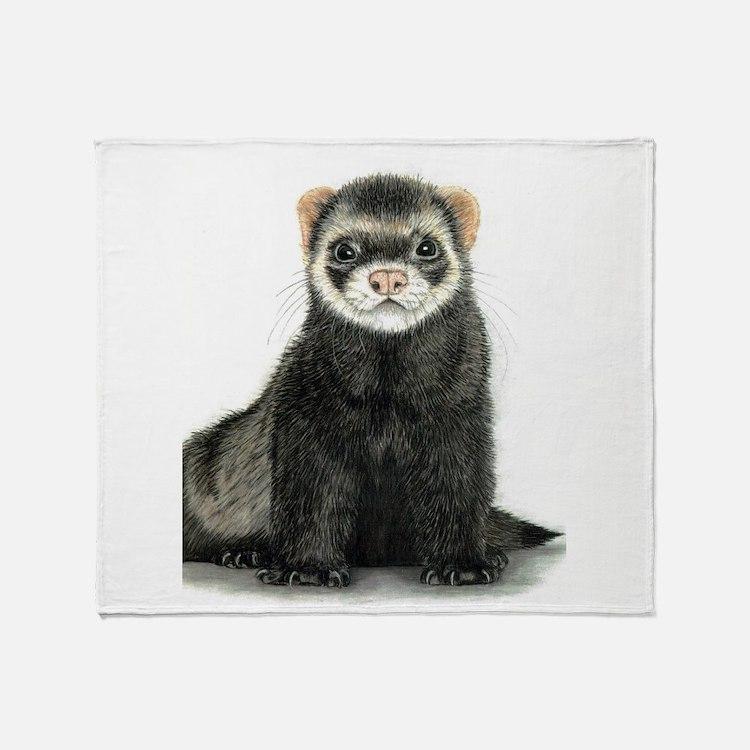 High detail ferret design Throw Blanket