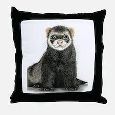 High detail ferret design Throw Pillow