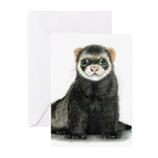 High detail ferret design Greeting Cards
