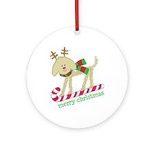 Xmas Goldendoodle Reindeer Round Ornament