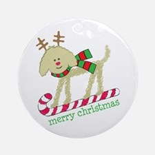 Xmas Goldendoodle Reindeer Round Ornament