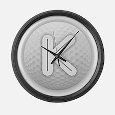 K Golf Ball - Monogram Golf Ball Large Wall Clock