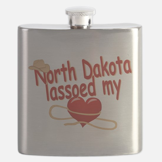 North Dakota Lassoed My Heart Flask