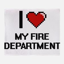 I Love My Fire Department Throw Blanket