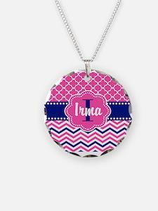 Pink Navy Quatrefoil Personalized Necklace