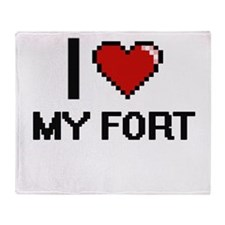 I Love My Fort Throw Blanket
