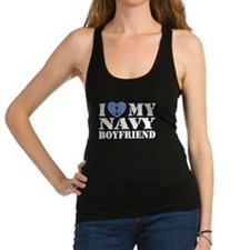 Cute I love my navy boyfriend Racerback Tank Top