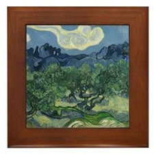 Cute Olive trees van gogh Framed Tile