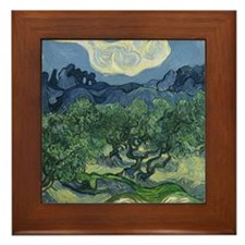 Unique Olive trees van gogh Framed Tile