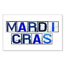 Mardi Gras Tiles (White) Rectangle Decal