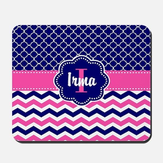 Navy Pink Quatrefoil Personalized Mousepad