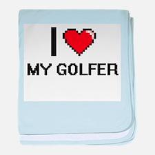 I Love My Golfer baby blanket