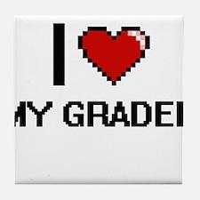 I Love My Grader Tile Coaster