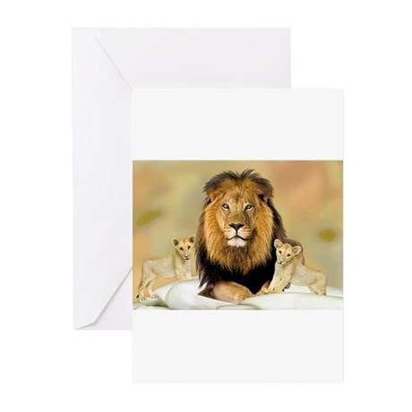 Father Lions & Cubs Greeting Cards