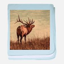 rustic western wild elk baby blanket