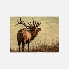 rustic western wild elk 5'x7'Area Rug